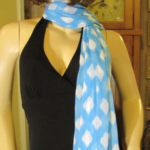 Large Blue & White Scarf by Summer